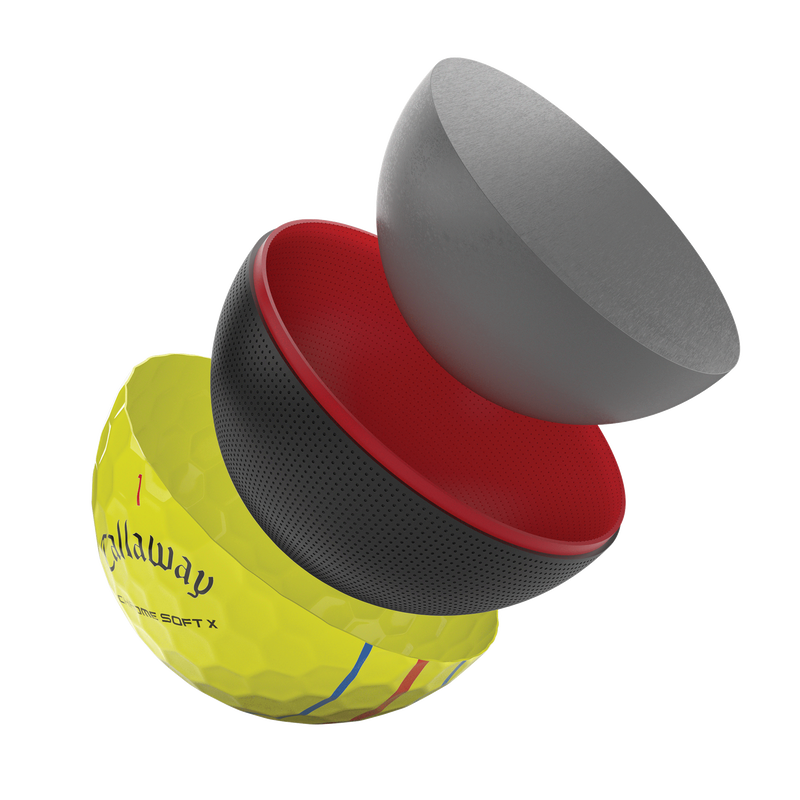Introducing 2021 Chrome Soft X Triple Track Yellow Golf Balls illustration