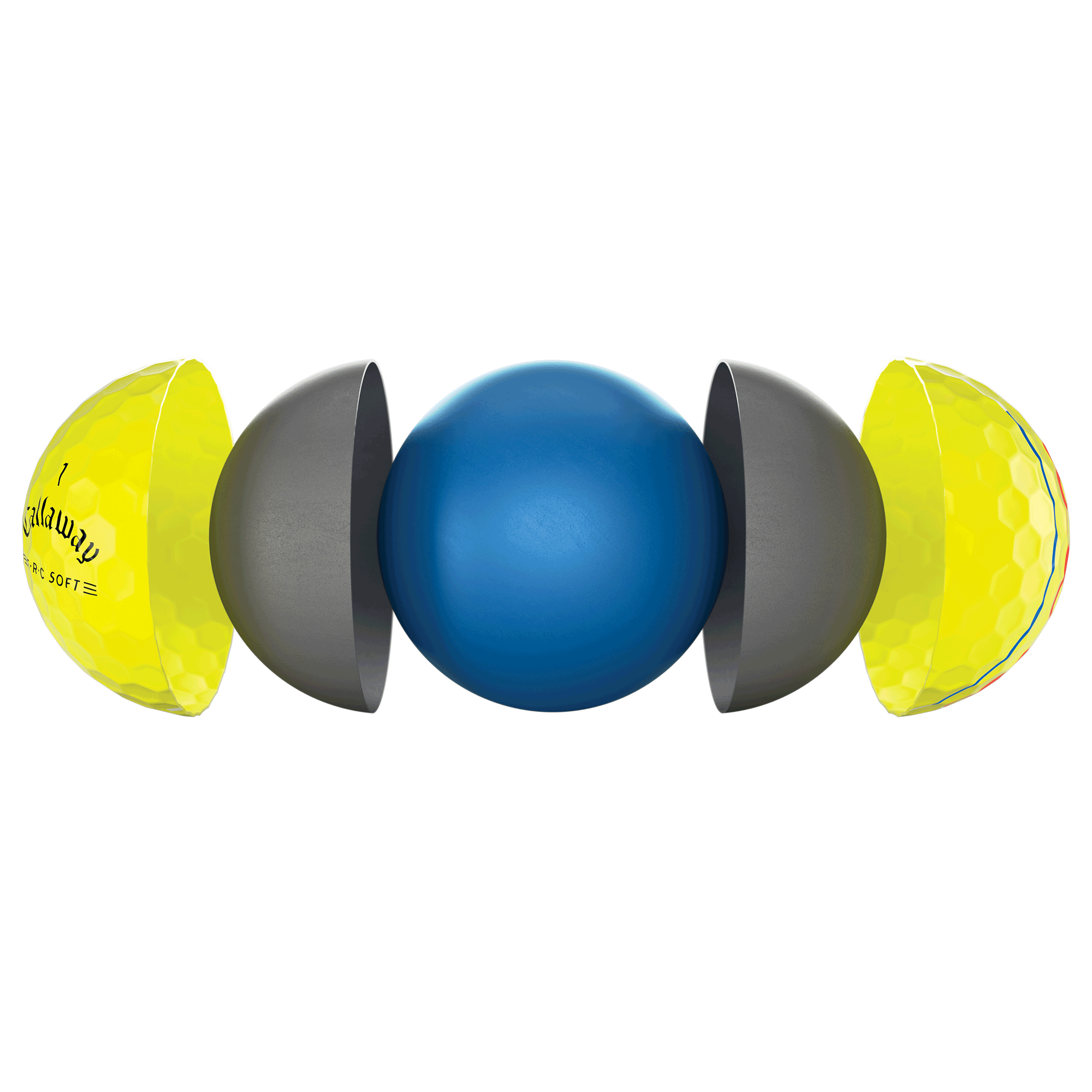 E•R•C Soft Triple Track Yellow golf ball technology breakout image